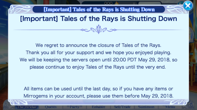 English version of Tales of the Rays to Shut Down - Abyssal