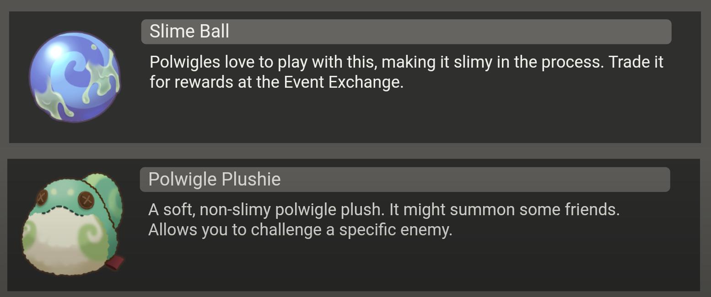Slime Ball and Polwigle Plushie